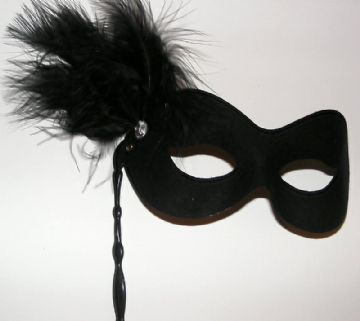 Soft form black feather Stick Mask